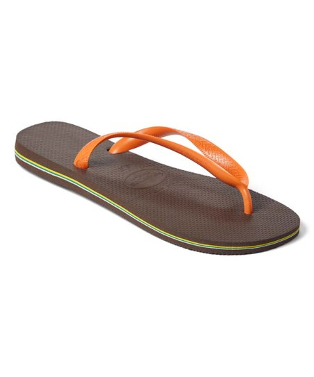 d20b4d1b7440 love this product Dark Brown   Orange Brazil Logo Flip-Flop - Women