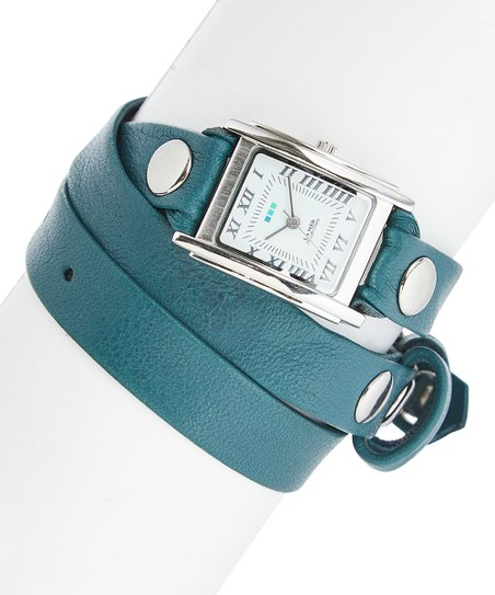 2fc8aecbcd6 love this product Aqua   Silver Stud-Accent Tri-Wrap Leather-Strap Watch
