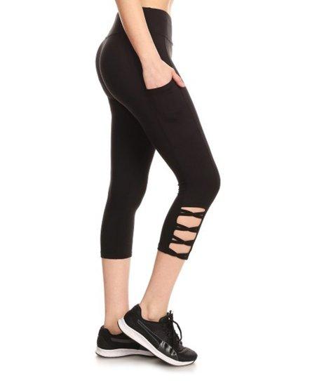 cf33aac2a2 Pink Mint Black Side-Lattice Pocket Capri Leggings - Women | Zulily