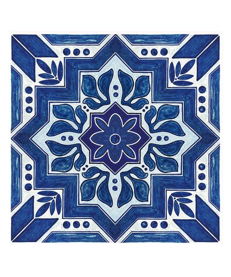 Flooradorn Blue Moroccan 6 Pack Self Adhesive Vinyl Floor Tile