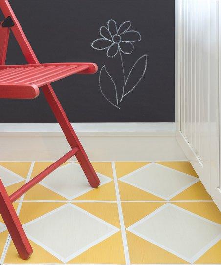 Flooradorn Yellow Diamond 24 Pack Self Adhesive Vinyl Floor Tile
