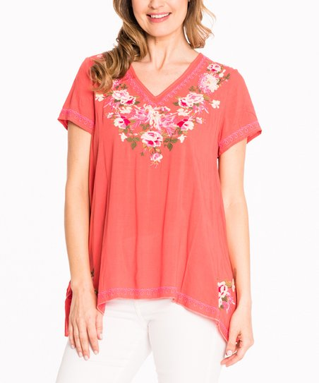 cea1a2df3ea5e PAPARAZZI Coral Floral Embroidery V-Neck Top - Women
