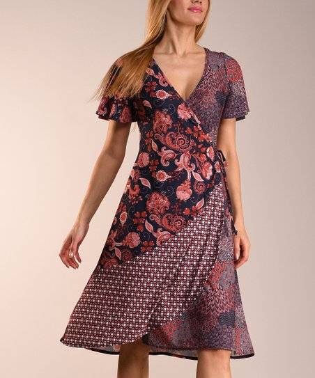 f61f2c4c863 love this product Barn Red   Navy Floral Contrast Wrap Dress - Women   Plus
