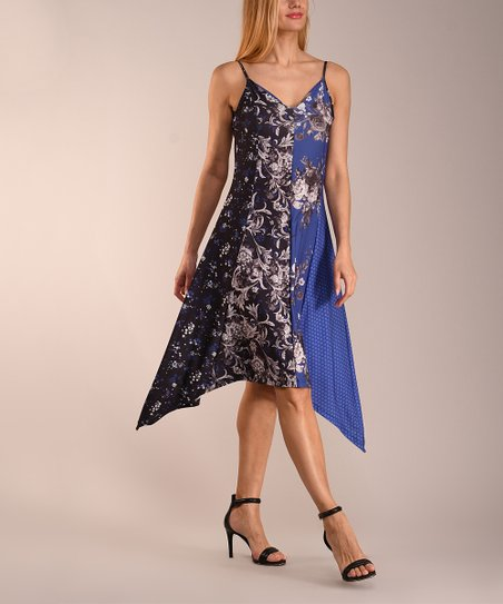 b853274e331f1a love this product Black Gray   Blue Floral Contrast-Panel V-Neck Sidetail  Dress - Women   Plus