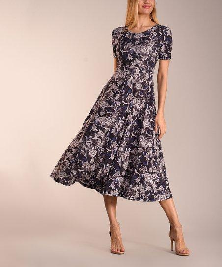 704057e2fc16 love this product Black Gray & Blue Floral Short-Sleeve Midi Dress - Women  & Plus