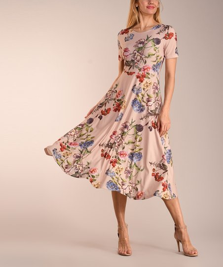 0097bac5a9 love this product Beige Floral Short-Sleeve Midi Dress - Women   Plus