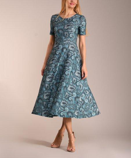 ff39732733a1 love this product Black & Teal Paisley Short-Sleeve Midi Dress - Women &  Plus