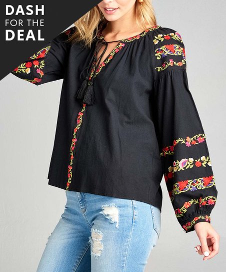 7c7b2425cbae05 love this product Black   Red Floral Embroidered Tassel-Accent Peasant Top  - Women