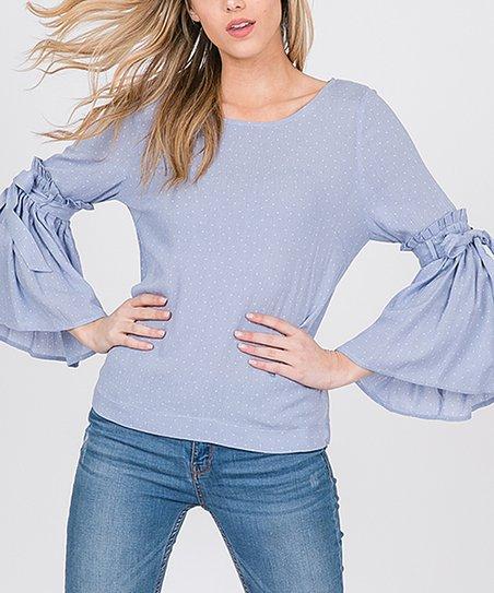 7981315632f05 LARA Fashion Lavender Pin Dot Bell-Sleeve Top - Women