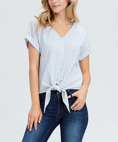 cd62cbd7cdee61 love this product Off-White   Blue Stripe Cuff-Sleeve Tie-Front Button-Up  Top - Women   Plus