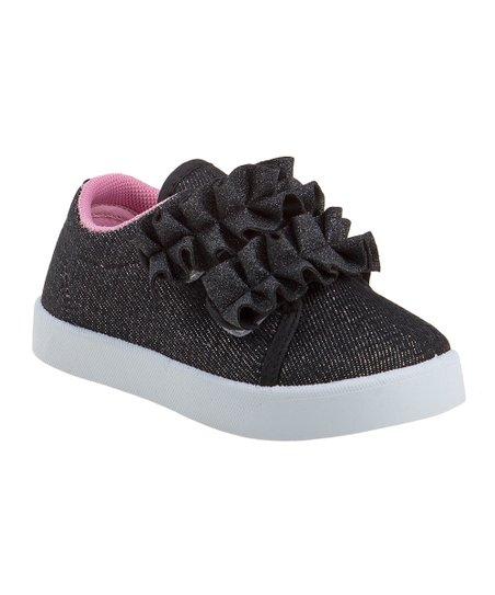 fa313ee72e Beverly Hills Polo Club Black Glitter Ruffle Slip-On Sneaker - Girls ...