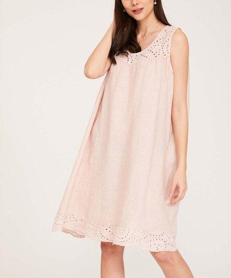 74b7d240b06 love this product Pink Lace-Detail Sleeveless Linen Shift Dress - Women    Plus