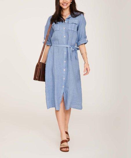 b23e8c3a836 Ornella Paris Denim Blue Tie-Waist Linen Shirt Dress - Women