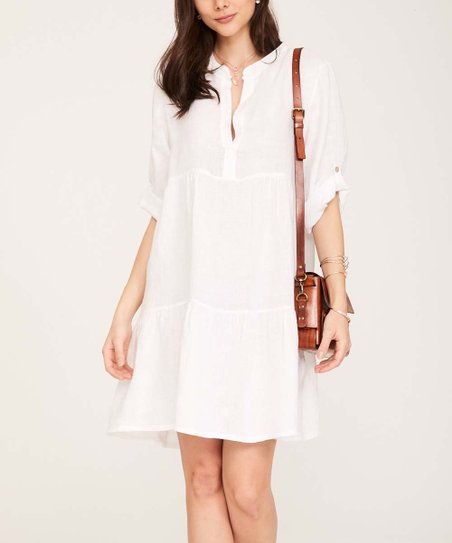 90650dedd5 Ornella Paris White Tiered Button-Front Linen Shift Dress - Women ...