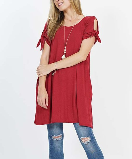0df00091109 love this product Burgundy Tie-Sleeve Pocket Convertible Tunic - Women
