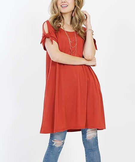 c188d5a2d7b love this product Rust Tie-Sleeve Pocket Convertible Tunic - Women