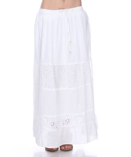 e7efa987b Venice Blue White Tiered Lace-Accent Maxi Skirt - Women | Zulily