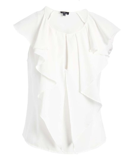 c69a3eb9bbd02d love this product White Ruffle Sleeveless Top - Women
