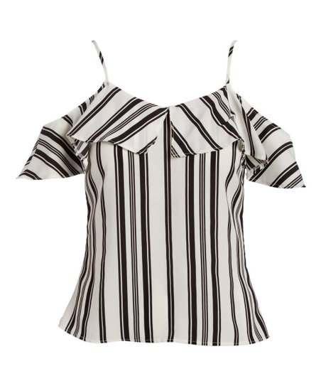 930213c469bfb love this product Off White   Black Stripe Cold Shoulder Top - Women
