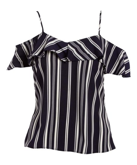 29f01419d5dfc love this product Navy   White Stripe Cold Shoulder Top - Women
