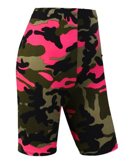 042163abb90b7 love this product Neon Pink Camo High-Waist Bike Shorts - Women