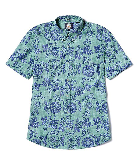 5166e62d love this product Mint Royal Chrysanthemums Tailored Aloha Button-Up - Men