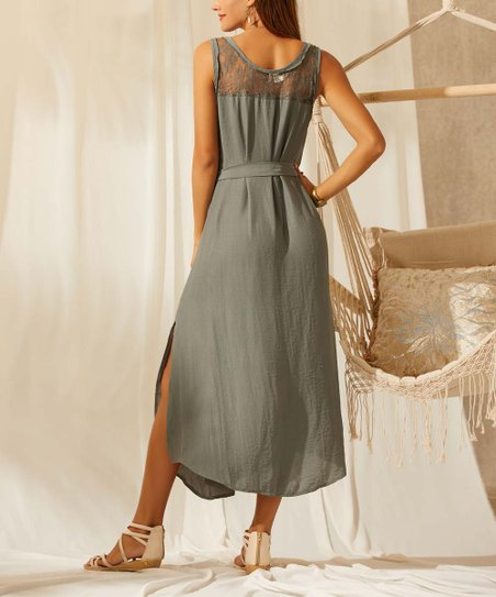 01bbde14b2d Simple by Suzanne Betro Sage Lace-Accent Sleeveless Belted A-Line Dress -  Women & Plus