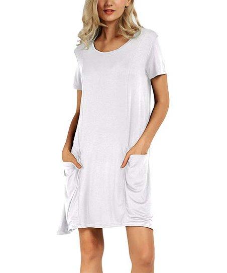 aa36ba5f943 love this product White Oversize-Pocket T-Shirt Dress - Women