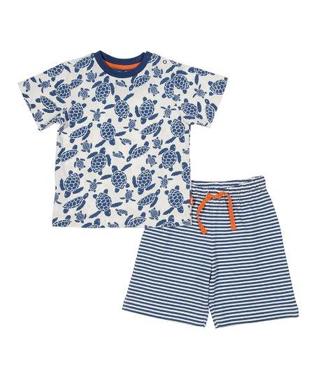 24b061a05 Kite Navy Turtle Organic Cotton Tee & Stripe Organic Cotton Shorts - Infant  & Toddler