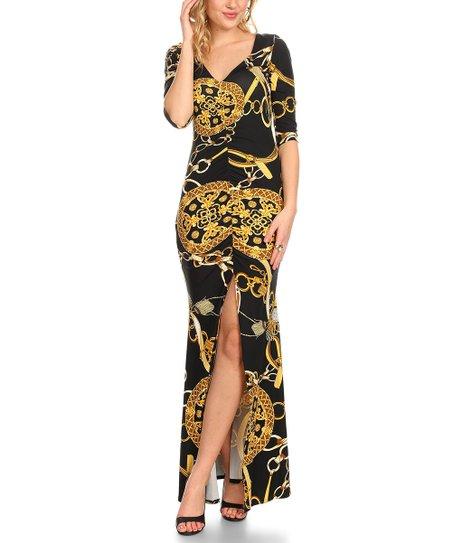c1b23d3b1 Black   Gold Status Ruched Front-Slit Maxi Dress - Plus