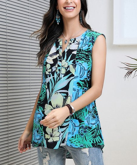c32fa6a6a21a3 love this product Turquoise   Blue Floral Sleeveless Notch Neck Top - Women    Plus