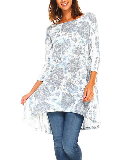 729d9794d8b A La Tzarina Navy & White Floral Tunic - Women & Plus | Zulily