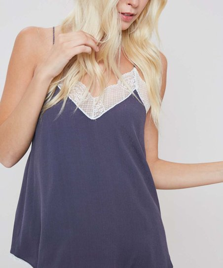 ec0799e78e Cherry On Boutique Slate Lace-Trim Silk-Blend Camisole - Women   Zulily
