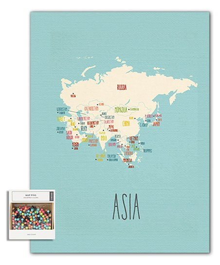 Map Of Asia To Print.Epic Adventure Maps Blue Asia Travel Print Pushpins Zulily