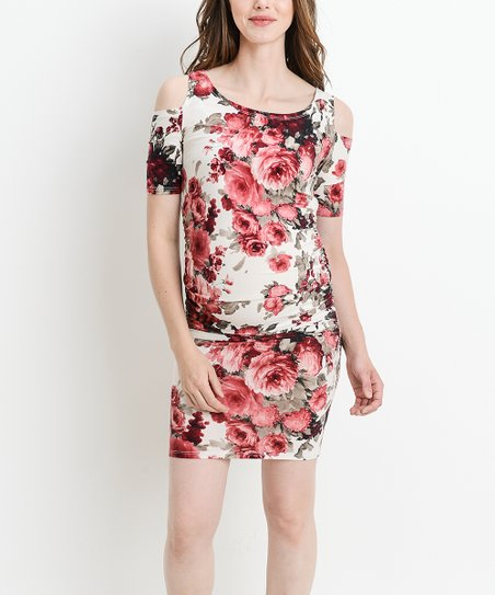 9e1e335242 love this product Ivory   Red Floral Cold-Shoulder Maternity Dress - Women