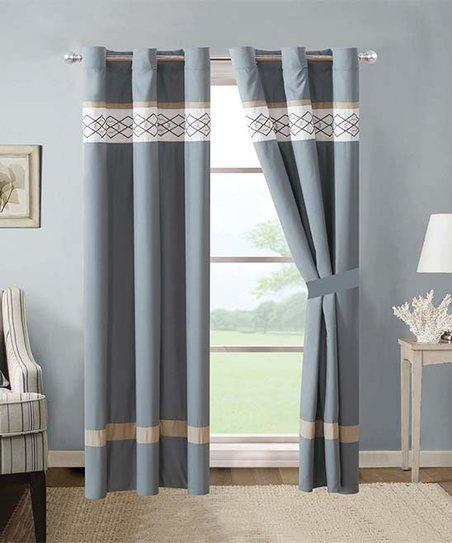 Esca Gray White Stripe Curtain Panel