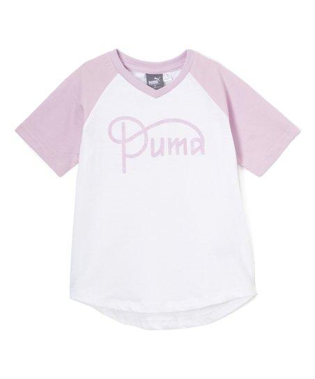 ee46b38bc2a love this product White 'Puma' V-Neck Raglan Tee - Girls