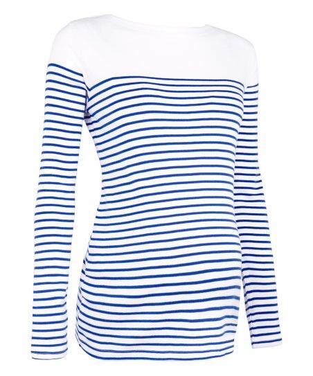 JoJo Maman Bébé Blue & White Stripe Color Block Breton Maternity Scoop Neck  Top - Women