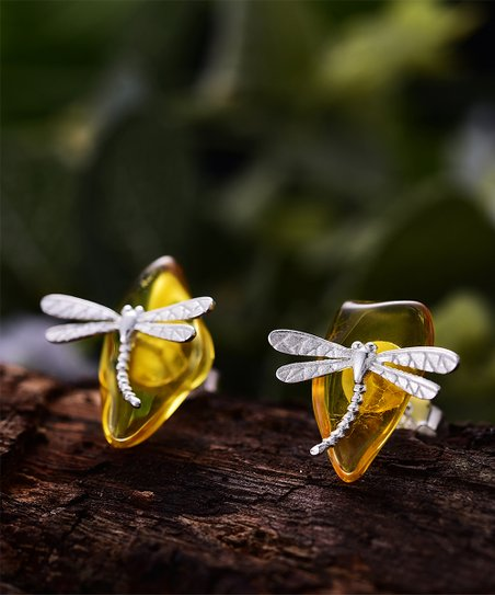 2ddd388a6 Lotus Fun Amber & Sterling Silver Dragonfly Stud Earrings   Zulily