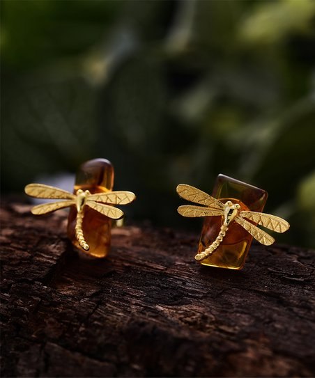a936ba82e Lotus Fun Amber & Goldtone Dragonfly Stud Earrings   Zulily