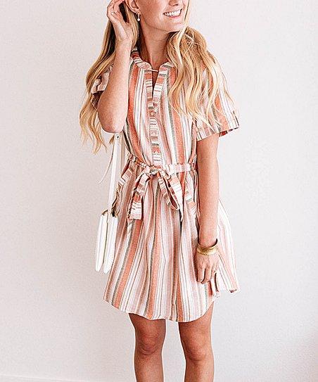 Coral Striped Shirt Dress