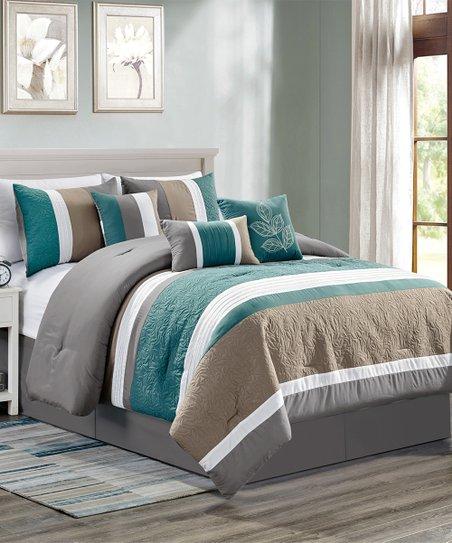 Elight Home Teal & Tan Embroidered Chermona Seven-Piece Comforter Set