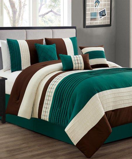 Esca Teal & Brown Stripe Embroidered Casun Seven-Piece Comforter Set