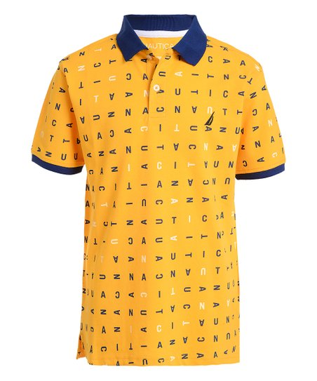 7aed8f6c Nautica Gold & Navy Letters Taylor Polo - Boys