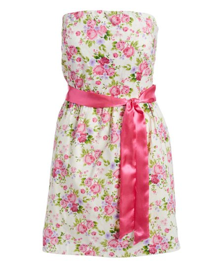 6aaf0eeb8f488 love this product White & Pink Floral Waist-Sash Strapless Dress - Women
