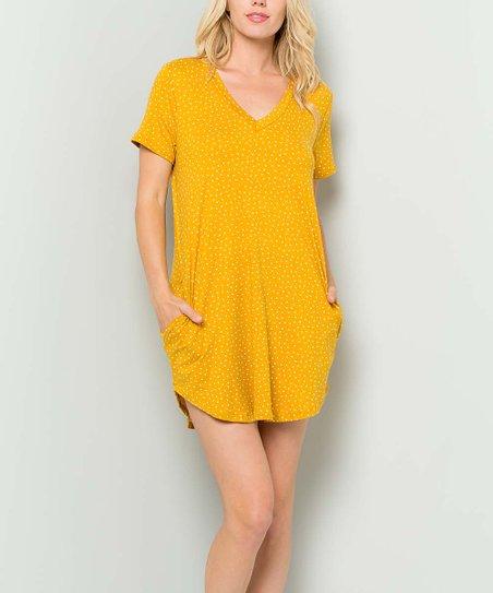 a8156300dd love this product Mustard Polka Dot Pocket Curve-Hem T-Shirt Dress - Plus