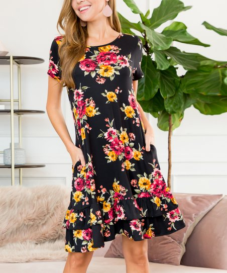90bff93fa5c Riah Fashion Black Floral Ruffle-Hem Shift Dress - Women
