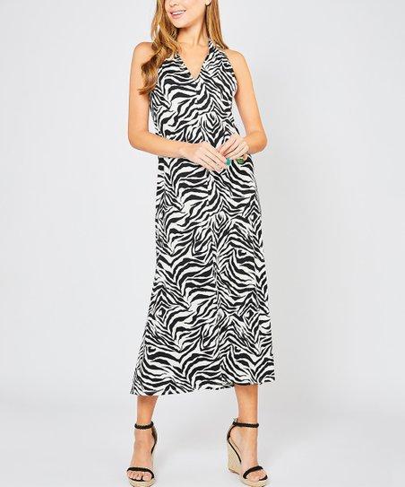 ae87e03363 love this product Black Zebra Side-Slit Halter Maxi Dress - Women