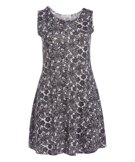 f571b430aace99 love this product Black   White Floral Sleeveless Dress - Women   Plus