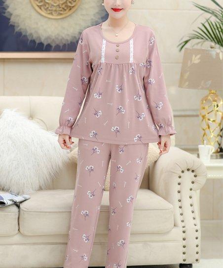 838249745811 love this product Light Purple Floral  Flowers  Long-Sleeve Pajama Set -  Women